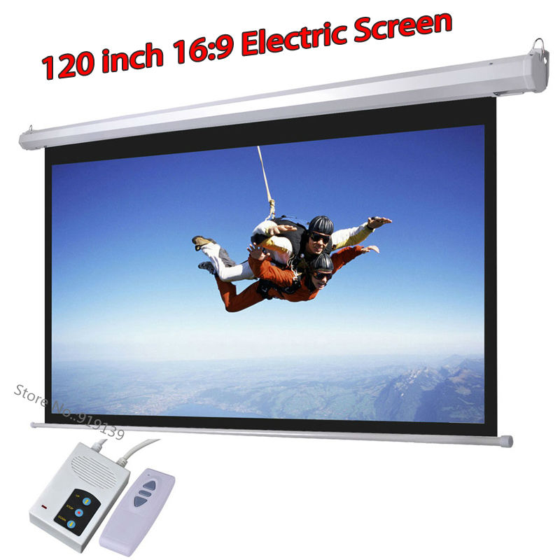 DHL Fast Shipping Big Cinema Motorized Projection Screen 120 Inch 16:9 Matt White 3D Projector Electric Screen With Remote(China (Mainland))