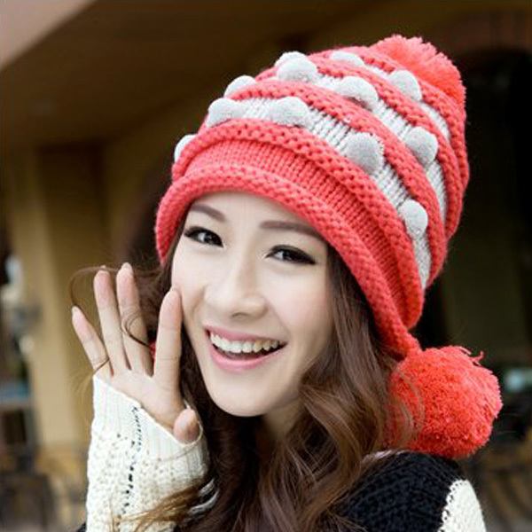 Wholesale Women Winter Knit Slouchy Baggy Beret Beanie Hat Girls Warm Knit Crochet Cap(China (Mainland))
