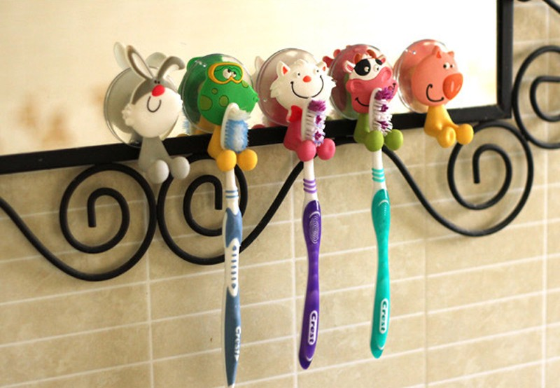 5Pcs Baby Care Grooming & Healthcare Kits Cute Cartoon Sucker Suction Hooks Set Hanging Baby Toothbrush Holder Towels Etc.