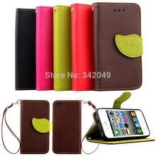 Leather Case for Apple iPhone 4 4s Phone Cases Flip Wallet Stand Cover Belt Clip Magent Mobile Phones Covers for iPhone4
