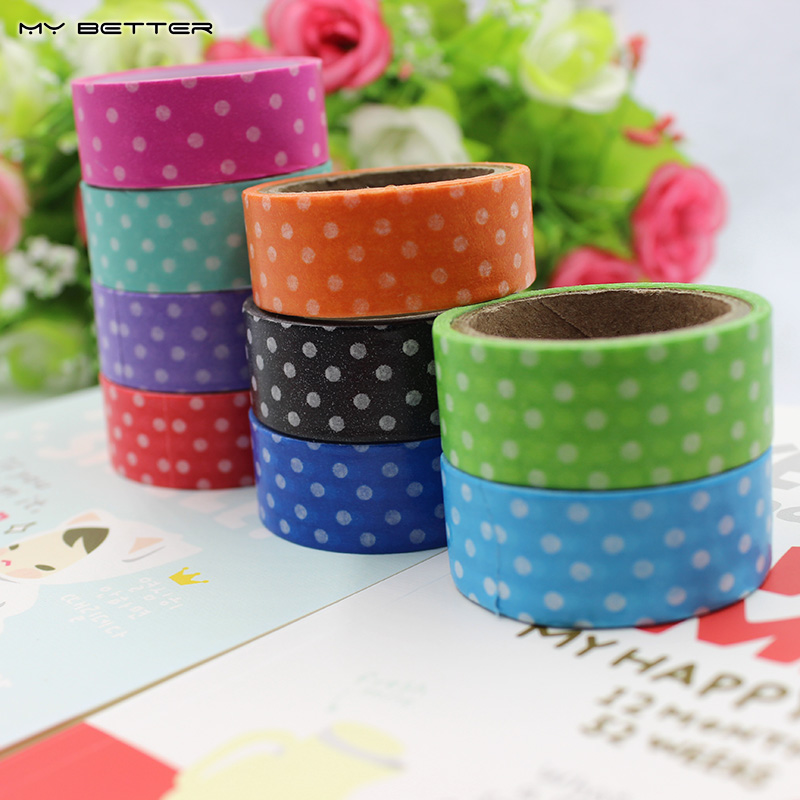10Pcs DIY Cute Cartoon Washi Tape Dots Sticky Paper for Scrapbook Home Decoration Korean Stationery Random Send Colors(China (Mainland))