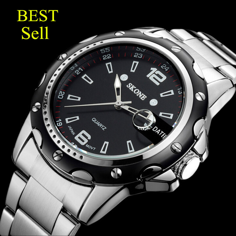 Hot SKONE watches men luxury brand 7147 clock reloj relogio masculino military quartz watch full stainless steel men wristwatch(China (Mainland))