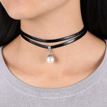 Celebrity Double Layer Black  Imitation Leather Choker Necklace Gothic Adjustable Chain  Charm Pendant Vintage Jewelry(China (Mainland))