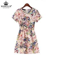 WISHCLUB Hot Sale Summer Popular Fashion Women Lady  Collar O-Neck Elastic Short Sleeve Flower Print dress vestidos