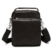 2016 Genuine Cowhide Leather Man's Shoulder Bag Fashion Crossbody Bag High Quality Leather Handbag Small Coffee Zipper Bags Men