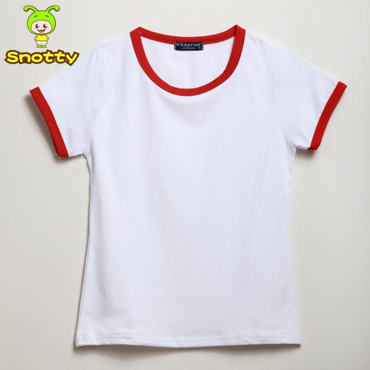 Children's boutique clothing kids plain t shirts yellow and white 100% cotton summer t shirt KT-1427(China (Mainland))