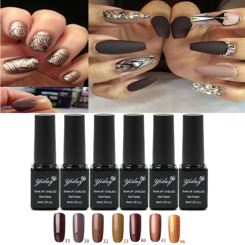 1pcs Brown Gold Gel Soak-off UV Gel Nail Polish 6ml Soak-off Color Gels Varnish For Long-lasting Gel Nail Art Design Pro Salon(China (Mainland))