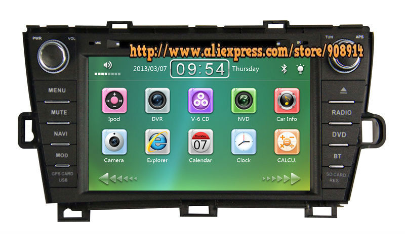 Free Shipping Car DVD for Toyota Prius Right Driving Car Stereo with BT GPS Radio AM/FM USB SD iPod ATV(China (Mainland))
