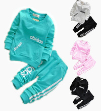2015 cotton clothing set T-shirt+pants 2-piece set suit wear in sport vestidos kids clothose baby boy girl clothes free shipping(China (Mainland))