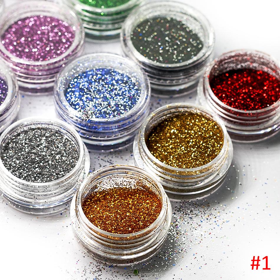 12 bottles/set DIY Nail Art Decorations Glitter Dust Powder 12 Colors Dried flowers Shell powder Sequin-D12