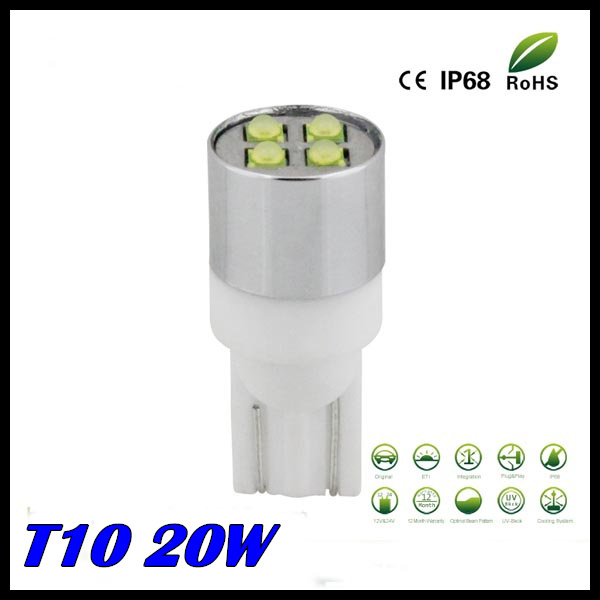 Free shipping 2pcs/lot t10 led high powered Super Bright 20W CREE LAMP  high power,194 led car,t10 high power,w5w led<br><br>Aliexpress
