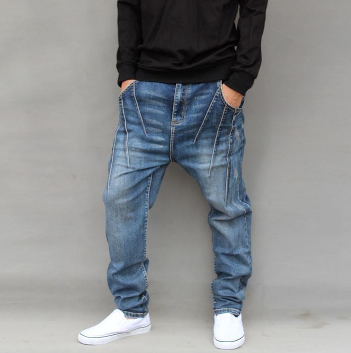 2017 New Men's Hip hop Jeans Loose Harem Baggy Tapered Pants Trousers Fashion Stylish men jeans pants