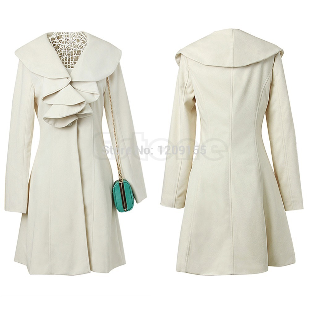 Women's Ruffle Falbala Warm Wool Blend Long Coat Jacket Outwear Overcoat Parkas