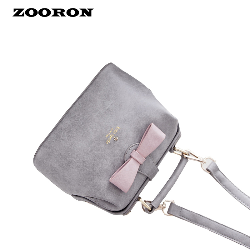 In the spring of 2016 new women bag sweet ladies handbag bow shoulder women leather bags(China (Mainland))