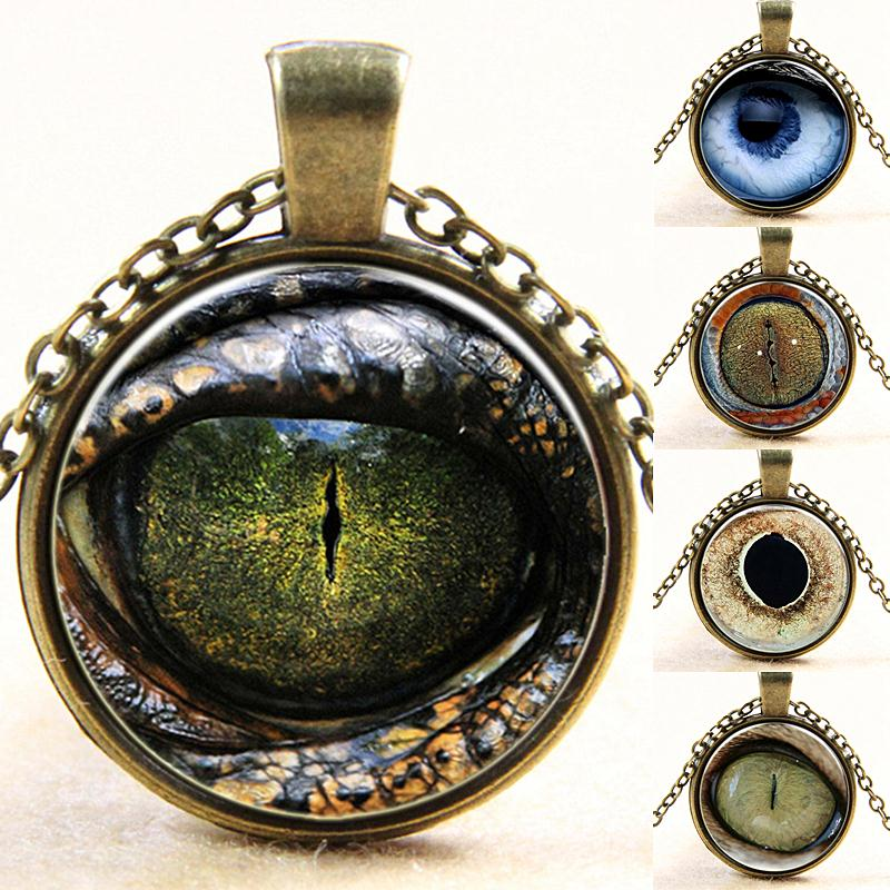 12 Style 2016 Silver Plated 25mm Pendant Necklaces Statement Chains Women Jewelry Fashion 3D Printed Realistic Dragon Eye Collar(China (Mainland))