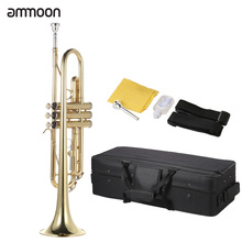 ammoon Trumpet Bb B Flat Brass Gold-painted Exquisite Durable Musical Instrument with Mouthpiece Valve Oil Gloves Strap Case(China (Mainland))