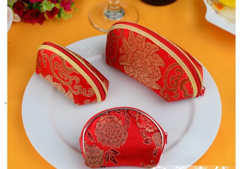 7 Pieces/lot Embroidered Fashion Red Coin Purse Wallet Burse Wedding Chinese Style Sugar Damask Box Mini Handbag Free Shipping(China (Mainland))