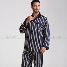 Mens Silk Satin Pajamas Set Pajama Pyjamas PJS Set  Sleepwear  Nightwear Loungewear  S,M,L,XL,2XL ,3XL Pants Strip Plus(China (Mainland))