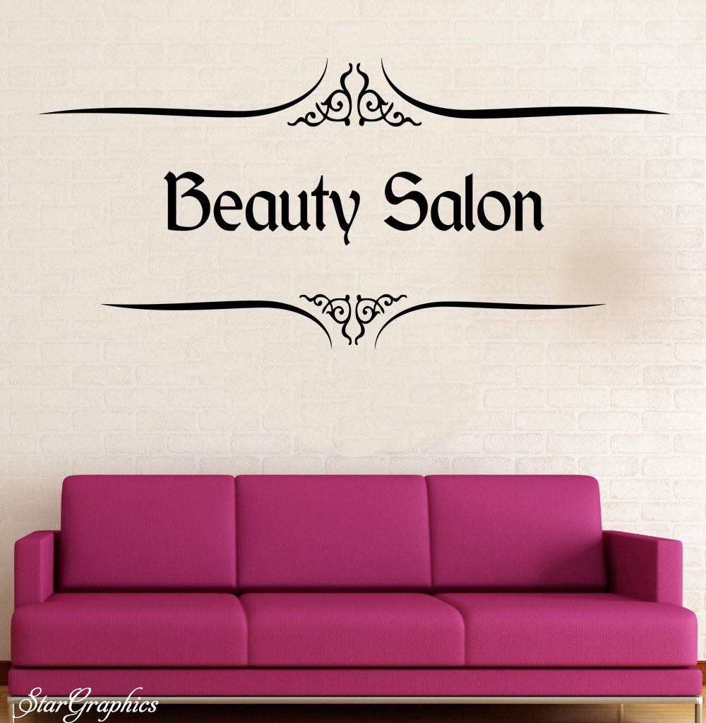 E28 Personalised Beauty Salon Wall Art Sticker Hair Hairdresser Decal Shop Sign(China (Mainland))