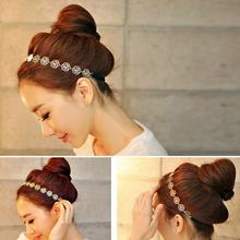 Girl'S Fashion Metal Chain Jewelry Hollow Rose Flower Elastic Hair Band Headband hairband hair accessories(China (Mainland))