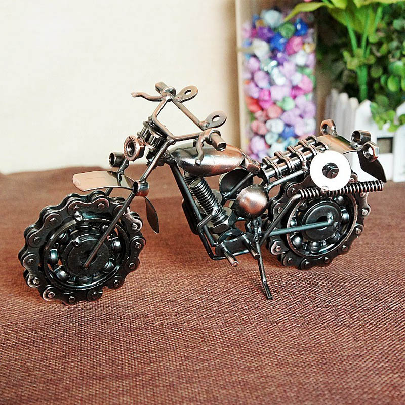 New coming Handmade bronze color metal Motorcycle Model toys for kids birthday gift<br><br>Aliexpress