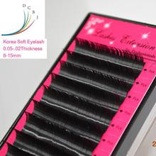 False Eyelashes,Eyelashes Korea Silk Mink Individual Makeup Fake Eyelashes Extensions 0.07&all thickness B/C/D Curl Black - Vivid Beauty Store store