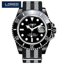LOREO أعلى العلامة التجارية 200m للماء الرجال الساعات التلقائي الميكانيكية ووتش الأزياء الأعمال ووتش الياقوت الكريستال الذكور الرياضة ساعة(China)