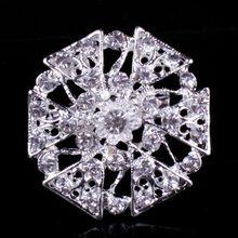 Colore argento Placcato Chiaro Strass in Cristallo Spilla Diamante Fiore di Medie Dimensioni Spilli Per Il Bouquet Da Sposa FAI DA TE Spilli(China)