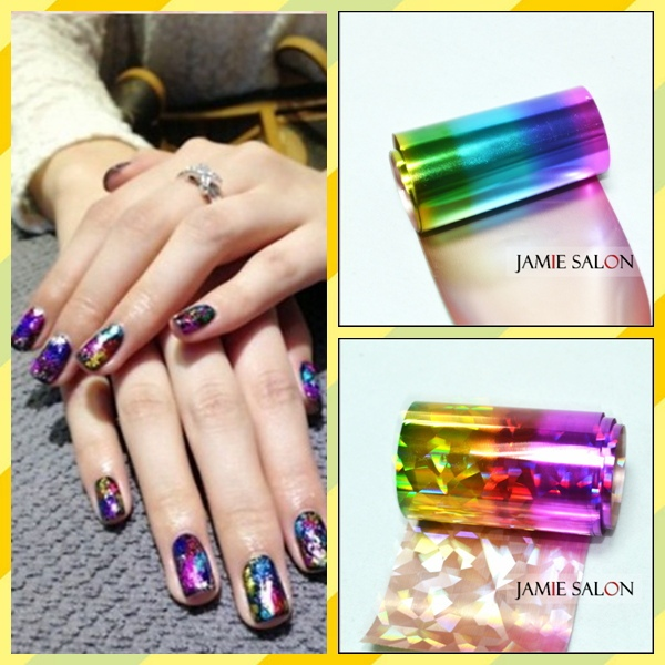 2013 New Nail Art Transfer Foils Free Adhesive Acrylic Gel System Tips Decoration 5 pcs/lot Free Shipping