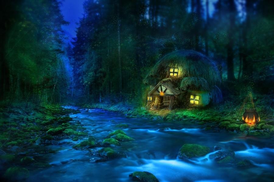 fantasy art landscapes rivers trees lotr lord rings house cloth silk art wall poster and prints(China (Mainland))