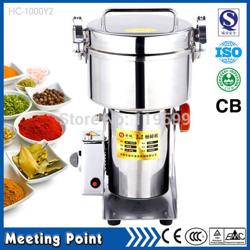 2015 Hot Sale Steel pepper mill 1000g Swing type Electric medicine grinder Full Stainless steel Whole grain mill 110V food mill(China (Mainland))