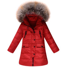 Girl 100% down winter jackets coat long model extra thick warm Children's winter clothing Outerwear &Coats duck down jacket(China (Mainland))