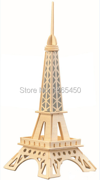 New imaginative 3D Wooden Jigsaw Puzzle Eiffel Tower model toys DIY suite for children and adult wooden toys(China (Mainland))