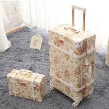 20 22 24 inch Spinner wheel Floral Pu leather suitcase Women Vintage luggage sets rolling luggage with 13 inch Cosmetic Bag(China (Mainland))