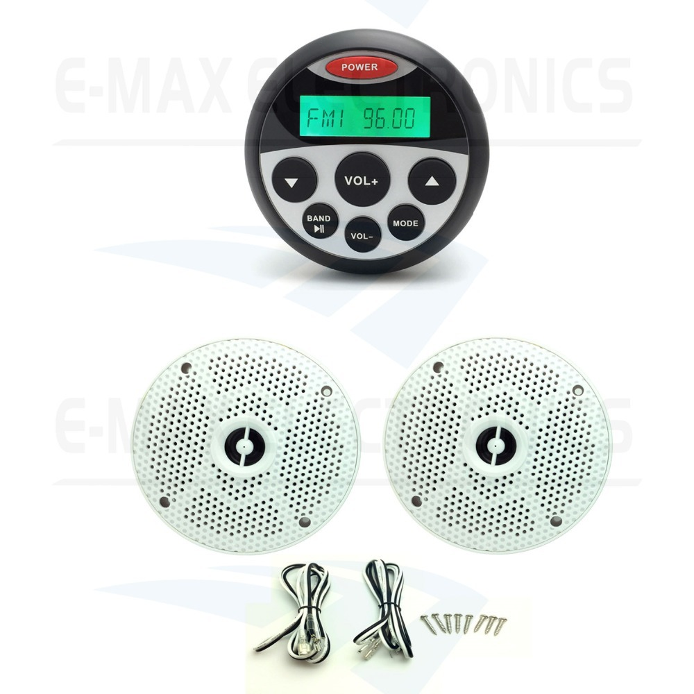 Waterproof Marine Gauge Radio FM AM MP3/USB Stereo Receiver +1pair Marine Waterproof Speakers for BOAT ATV SPA UTV(China (Mainland))
