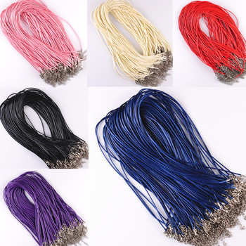 9 Colors Sale 10 Pcs/lot DIY Real Leather Chains Pendant Necklace Rope Charms Findings Lobster Clasp String Cord 1.5 mm Black