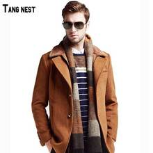 Men Wool Trench 2016 New Arrival Men Solid Business Style Formal Trench Men Fashion Wool Slim Coat M-3XL MWN168(China (Mainland))