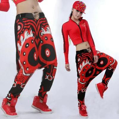 2015 moda pantalones harem mujeres hip hop danza disfraces gran rendimiento de impresión ojo desgaste harem flojos jazz(China (Mainland))