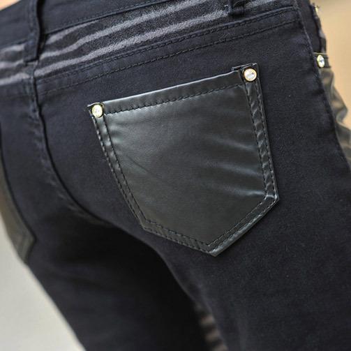 Ecw полиуретан кожа джинсы для женщины свободного покроя брюки ноги деним джинсы для женщины брюки-карандаш большой размер черный