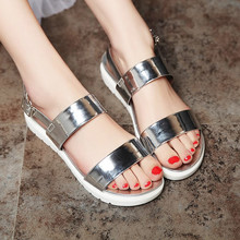 2016 Summer New Open-toed Buckle Heavy-bottomed Flat Platform Fashion Simple Sandals For Women Discount Cheap Hot Sale Shoes(China (Mainland))