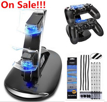 Dual Controller LED Blue Light Charger Dock Station+Dust Proof Prevent DIY Cover Kit For PlayStation 4 PS4 Gaming Console PS 4