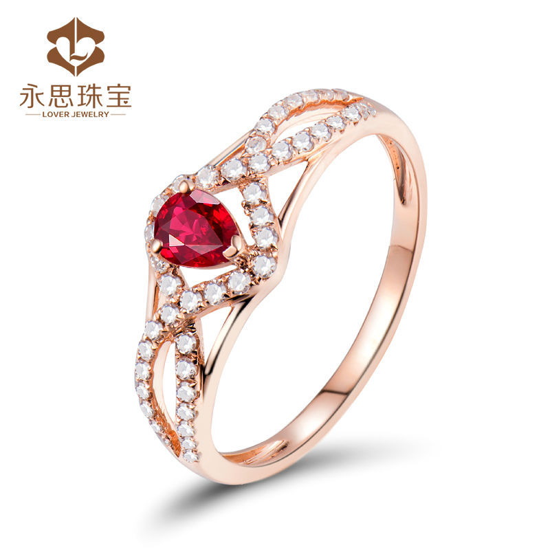 Infinity Design 100 Natural Ruby Dia Ring Solid 18k Rose Gold Ring Pear Cut 3 5x4