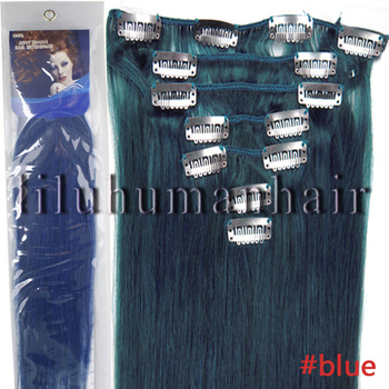 "Grade AAA+ 16""18""20""22"" Silky Straight weave beauty Clip In/On Hair Extension Straight 7pcs per set #blue"