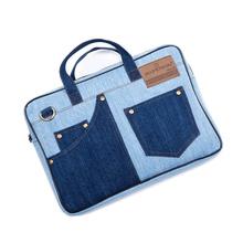 Fashion Quality Denim Tote Handbag Crossbody Messenger Bag Satchel For 11″ 13″ Apple Macbook Air Pro Laptop Tablet #B591801