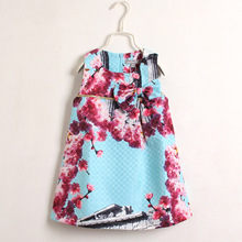 2016 Fashion Baby Girl Clothes Beautiful Flower Architecture Jacquard Vest Dress Sleeveless O Neck A Line