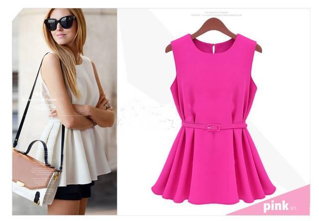 2014 New Summmer Womens Chiffon Round Neck Casual Sleeveless Shirt Tank Top Blouse Belt+ Min 6 usd  -  owen 914477 Store store