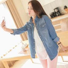 Cheap&High Quality Women Vintage Jeans Denim Shirts Long Sleeve Casual Shirt Tops(China (Mainland))