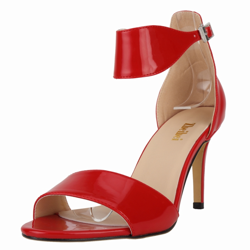SMYNLK-CA0016 Sandals Women High Heel Shoes Sandalias Mujer 2016 New Fashion Summer Shoes Large Size 35-42 Patent Leather(China (Mainland))