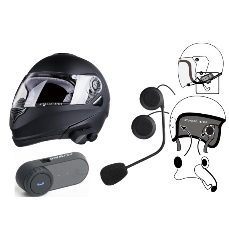 FDC T-COMVB Telephone Headsets Updated Version 2016 Original BT Bluetooth Motorcycle Helmet Intercom Interphone  with FM Radio<br>