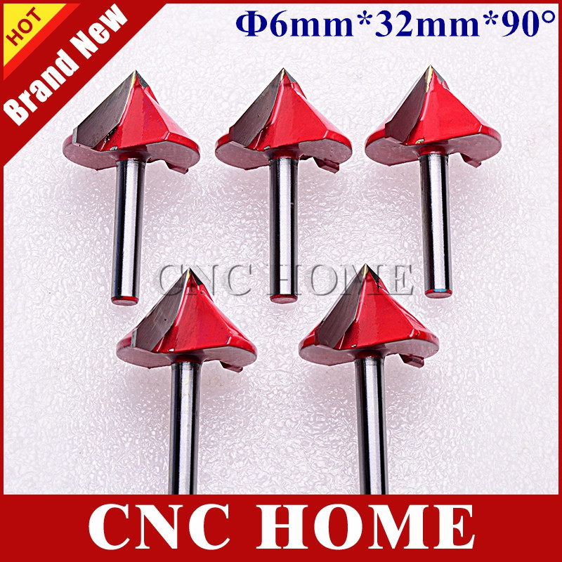 6*32MM 90 Angle, V Shape Woodworking Milling Cutters, CNC Router Bits, Wood Engraving Tools 3D Carving Cutting Machine - Shanghai HOME Ltd. Co. store